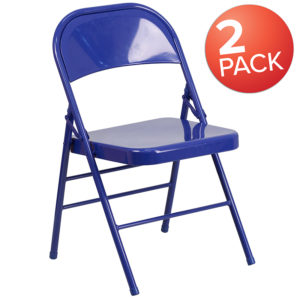 Wholesale 2 Pk. HERCULES COLORBURST Series Cobalt Blue Triple Braced & Double Hinged Metal Folding Chair