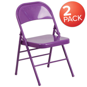 Wholesale 2 Pk. HERCULES COLORBURST Series Impulsive Purple Triple Braced & Double Hinged Metal Folding Chair