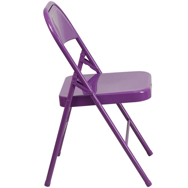 Set of 2 Metal Folding Chairs Impulsive Purple Folding Chair