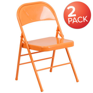 Wholesale 2 Pk. HERCULES COLORBURST Series Orange Marmalade Triple Braced & Double Hinged Metal Folding Chair