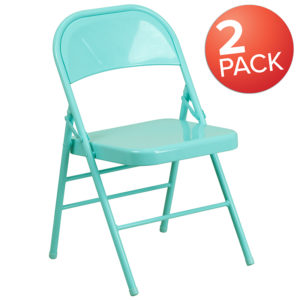 Wholesale 2 Pk. HERCULES COLORBURST Series Tantalizing Teal Triple Braced & Double Hinged Metal Folding Chair