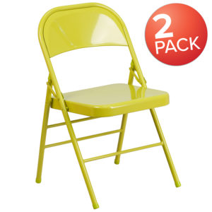 Wholesale 2 Pk. HERCULES COLORBURST Series Twisted Citron Triple Braced & Double Hinged Metal Folding Chair