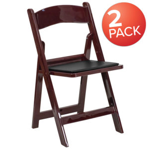 Wholesale 2 Pk. HERCULES Series 1000 lb. Capacity Red Mahogany Resin Folding Chair with Black Vinyl Padded Seat