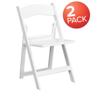 Wholesale 2 Pk. HERCULES Series 1000 lb. Capacity White Resin Folding Chair with Slatted Seat
