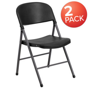 Wholesale 2 Pk. HERCULES Series 330 lb. Capacity Black Plastic Folding Chair with Charcoal Frame