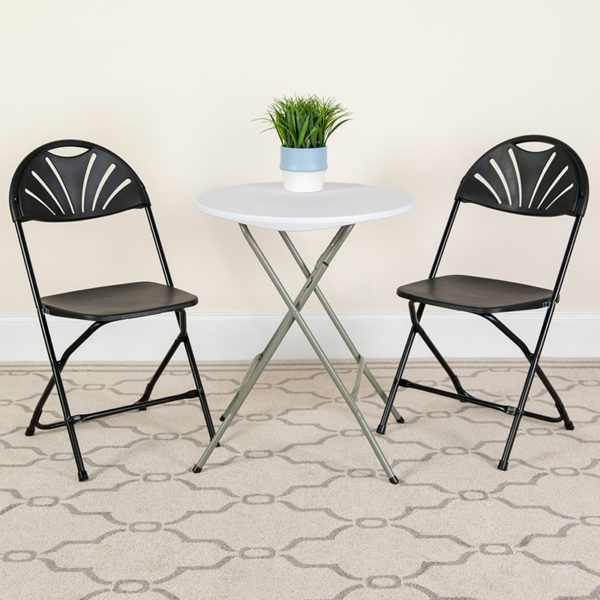Lowest Price 2 Pk. HERCULES Series 650 lb. Capacity Black Plastic Fan Back Folding Chair