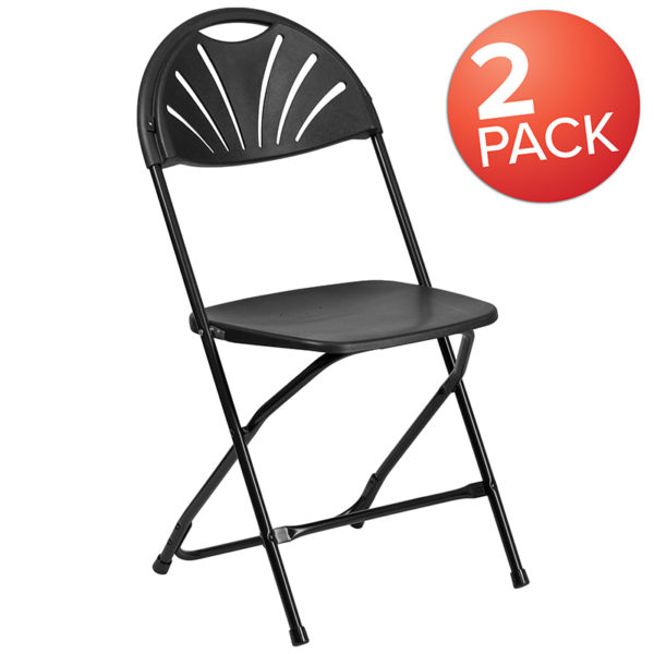 Wholesale 2 Pk. HERCULES Series 650 lb. Capacity Black Plastic Fan Back Folding Chair