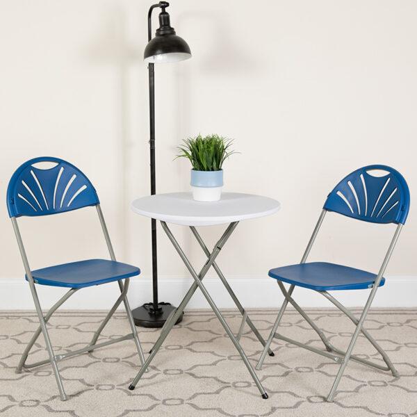 Lowest Price 2 Pk. HERCULES Series 650 lb. Capacity Blue Plastic Fan Back Folding Chair