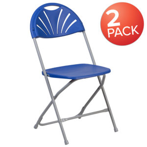 Wholesale 2 Pk. HERCULES Series 650 lb. Capacity Blue Plastic Fan Back Folding Chair