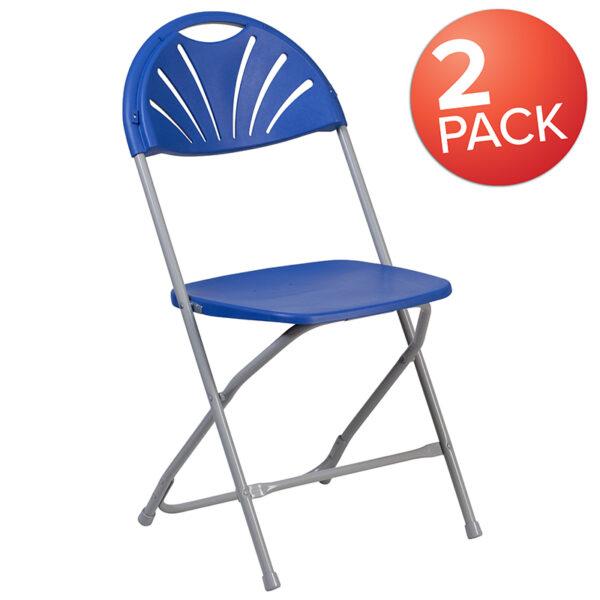 Wholesale 2 Pk. HERCULES Series 650 lb. Capacity Blue Plastic Fan Back Folding Chair