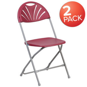 Wholesale 2 Pk. HERCULES Series 650 lb. Capacity Burgundy Plastic Fan Back Folding Chair