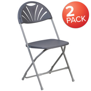 Wholesale 2 Pk. HERCULES Series 650 lb. Capacity Charcoal Plastic Fan Back Folding Chair