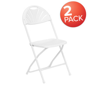 Wholesale 2 Pk. HERCULES Series 650 lb. Capacity White Plastic Fan Back Folding Chair