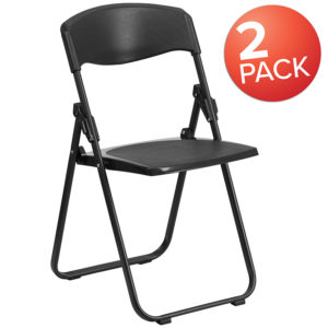 Wholesale 2 Pk. HERCULES Series 880 lb. Capacity Heavy Duty Black Plastic Folding Chair with Built-in Ganging Brackets