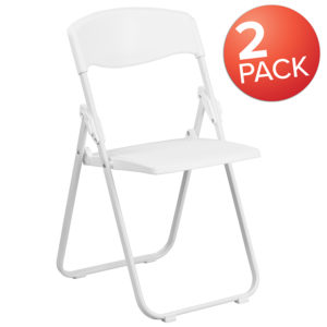 Wholesale 2 Pk. HERCULES Series 880 lb. Capacity Heavy Duty White Plastic Folding Chair with Built-in Ganging Brackets