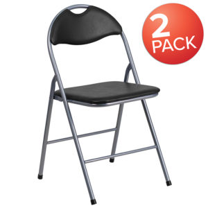 Wholesale 2 Pk. HERCULES Series Black Vinyl Metal Folding Chair with Carrying Handle