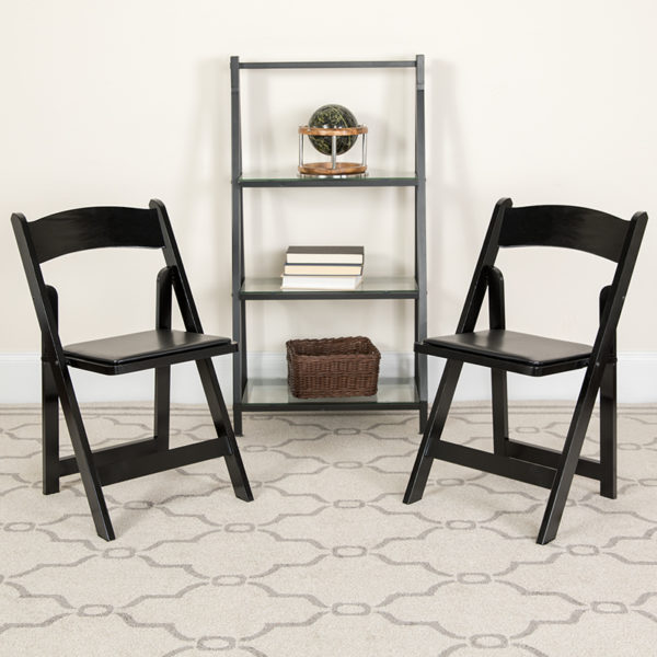 Lowest Price 2 Pk. HERCULES Series Black Wood Folding Chair with Vinyl Padded Seat