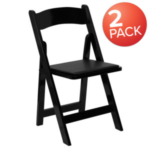 Wholesale 2 Pk. HERCULES Series Black Wood Folding Chair with Vinyl Padded Seat
