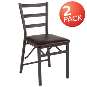 Wholesale 2 Pk. HERCULES Series Brown Folding Ladder Back Metal Chair with Brown Vinyl Seat