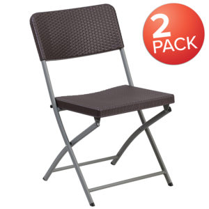Wholesale 2 Pk. HERCULES Series Brown Rattan Plastic Folding Chair with Gray Frame