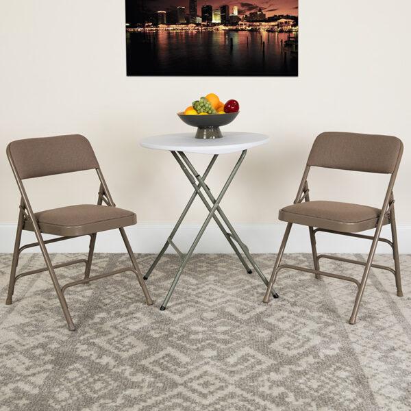 Lowest Price 2 Pk. HERCULES Series Curved Triple Braced & Double Hinged Beige Fabric Metal Folding Chair