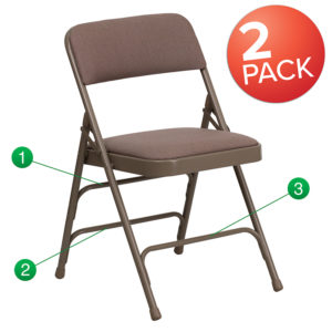 Wholesale 2 Pk. HERCULES Series Curved Triple Braced & Double Hinged Beige Fabric Metal Folding Chair