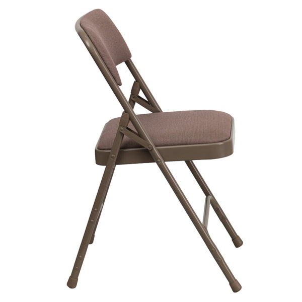 Set of 2 Padded Metal Folding Chairs Beige Fabric Folding Chair