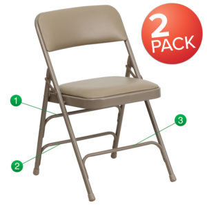 Wholesale 2 Pk. HERCULES Series Curved Triple Braced & Double Hinged Beige Vinyl Metal Folding Chair