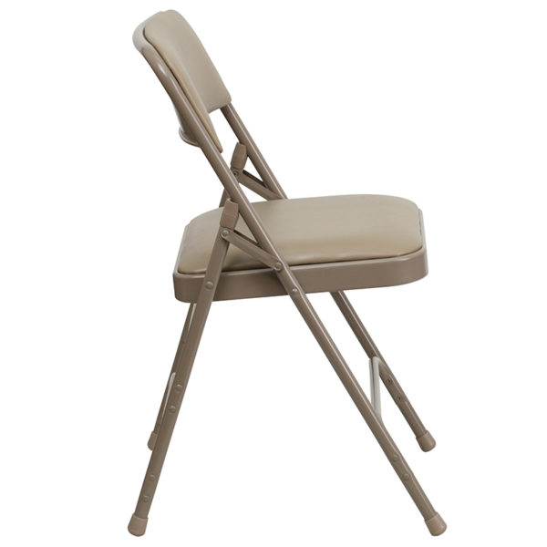 Set of 2 Padded Metal Folding Chairs Beige Vinyl Folding Chair