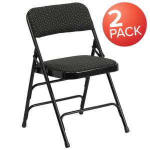 Wholesale 2 Pk. HERCULES Series Curved Triple Braced & Double Hinged Black Patterned Fabric Metal Folding Chair