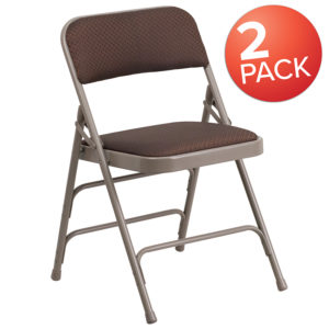 Wholesale 2 Pk. HERCULES Series Curved Triple Braced & Double Hinged Brown Patterned Fabric Metal Folding Chair
