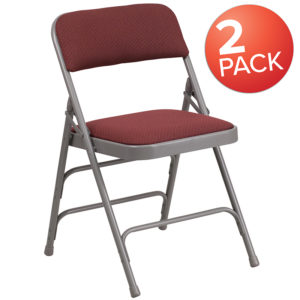 Wholesale 2 Pk. HERCULES Series Curved Triple Braced & Double Hinged Burgundy Patterned Fabric Metal Folding Chair