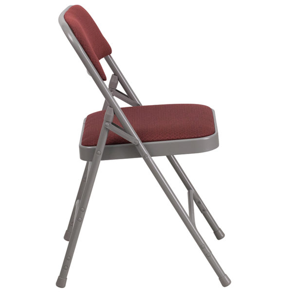 Set of 2 Padded Metal Folding Chairs Burgundy Fabric Metal Chair