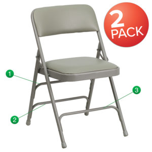 Wholesale 2 Pk. HERCULES Series Curved Triple Braced & Double Hinged Gray Vinyl Metal Folding Chair