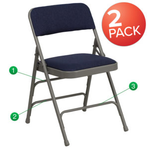 Wholesale 2 Pk. HERCULES Series Curved Triple Braced & Double Hinged Navy Fabric Metal Folding Chair