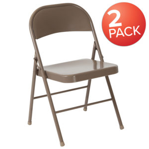 Wholesale 2 Pk. HERCULES Series Double Braced Beige Metal Folding Chair