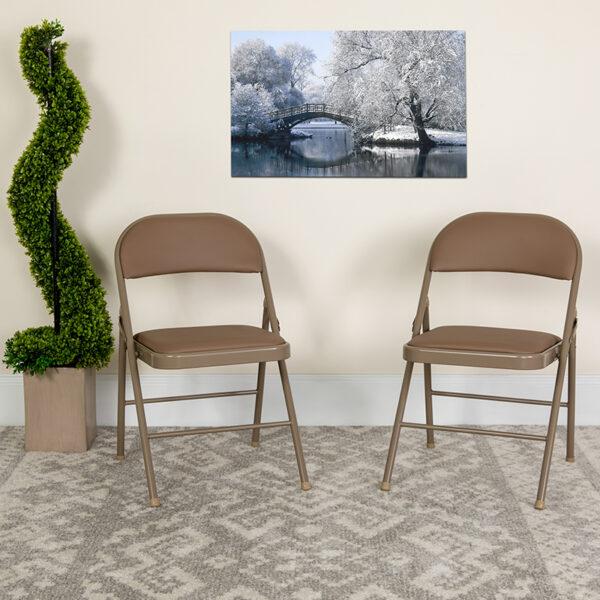 Lowest Price 2 Pk. HERCULES Series Double Braced Beige Vinyl Folding Chair