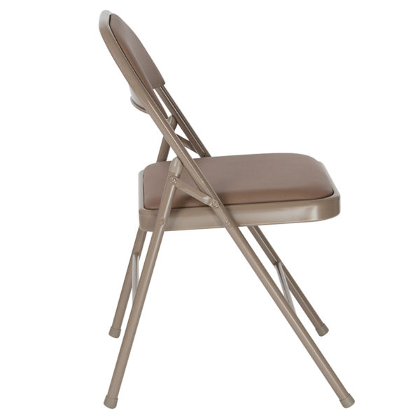 Set of 2 Padded Metal Folding Chairs Beige Vinyl Folding Chair
