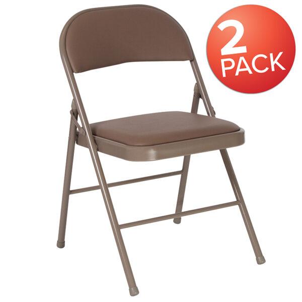 Wholesale 2 Pk. HERCULES Series Double Braced Beige Vinyl Folding Chair