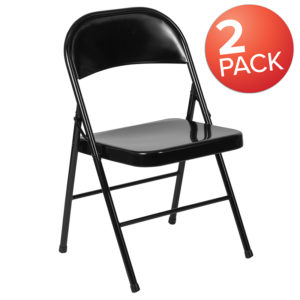 Wholesale 2 Pk. HERCULES Series Double Braced Black Metal Folding Chair