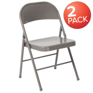 Wholesale 2 Pk. HERCULES Series Double Braced Gray Metal Folding Chair