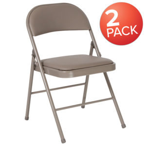 Wholesale 2 Pk. HERCULES Series Double Braced Gray Vinyl Folding Chair