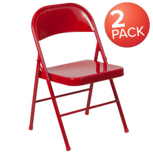 Wholesale 2 Pk. HERCULES Series Double Braced Red Metal Folding Chair