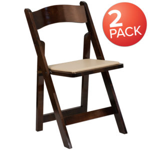 Wholesale 2 Pk. HERCULES Series Fruitwood Wood Folding Chair with Vinyl Padded Seat