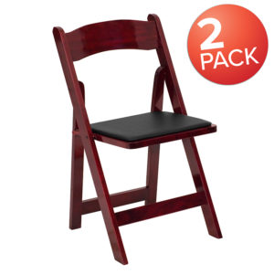 Wholesale 2 Pk. HERCULES Series Mahogany Wood Folding Chair with Vinyl Padded Seat