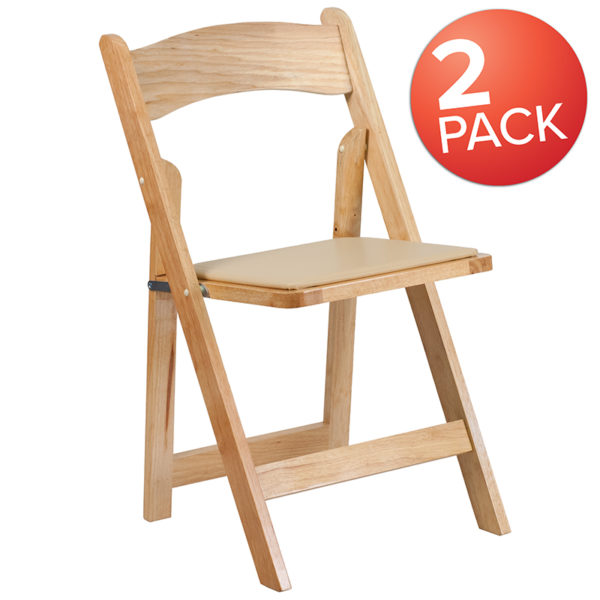 Wholesale 2 Pk. HERCULES Series Natural Wood Folding Chair with Vinyl Padded Seat