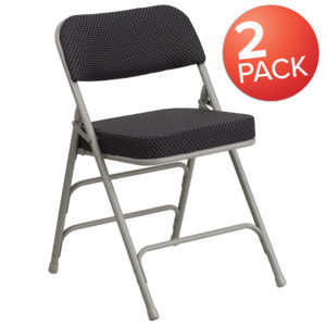 Wholesale 2 Pk. HERCULES Series Premium Curved Triple Braced & Double Hinged Black Pin-Dot Fabric Metal Folding Chair