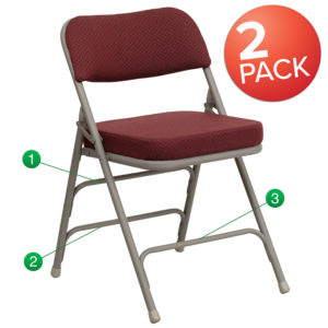 Wholesale 2 Pk. HERCULES Series Premium Curved Triple Braced & Double Hinged Burgundy Fabric Metal Folding Chair