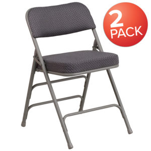Wholesale 2 Pk. HERCULES Series Premium Curved Triple Braced & Double Hinged Gray Fabric Metal Folding Chair