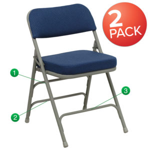 Wholesale 2 Pk. HERCULES Series Premium Curved Triple Braced & Double Hinged Navy Fabric Metal Folding Chair